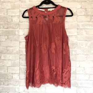 Taylor and Sage Sleeveless Lace Top XL